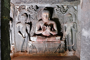 Cave No 6 Upper: Sanctum, Buddha in Teaching Pose. Ajanta Caves, Aurangabad, Maharashtra, India.
