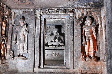 Cave 6 Upper: Sanctum, Buddha in Teaching Pose. Ajanta Caves, Aurangabad, Maharashtra, India.