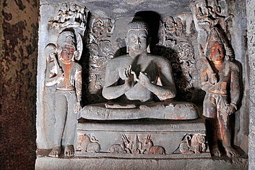 Cave 6 Upper: Sanctum, Buddha in Teaching Pose. Ajanta Caves, Aurangabad, Maharashtra, India.