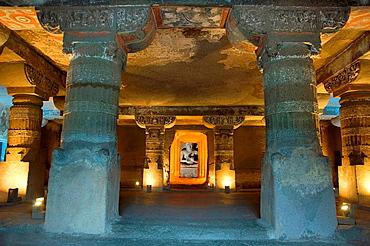 Cave 20: Sanctum, Buddha in teaching pose. Ajanta Caves, Aurangabad, Maharashtra, India.