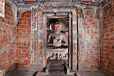 Cave 2: Sanctum, Buddha in Teaching Pose. Ajanta Caves, Aurangabad, Maharashtra, India.
