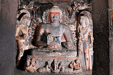 Cave 2: Buddha in Teaching Pose. Ajanta Caves, Aurangabad, Maharashtra, India.
