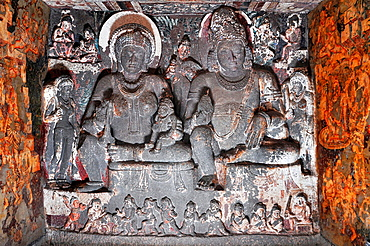 Cave 2: Shrine of Yakshas. Simhala and Hariti. Ajanta Caves, Aurangabad, Maharashtra, India.