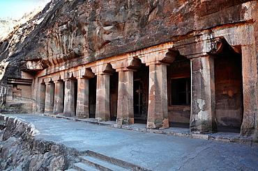 Cave No. 4 :Facade. Largest Monastery. Ajanta Caves, Aurangabad, Maharashtra, India.