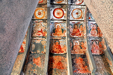 Cave 10: Paintings on Left Wall. Ajanta Caves, Aurangabad, Maharashtra, India.