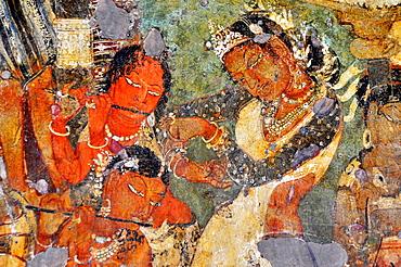Cave 1: Mahajanaka Jataka, Dancing scene. Ajanta Caves, Aurangabad, Maharashtra, India.