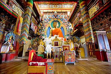 Buddha statue in main assembly hall, Tawang Monastery.