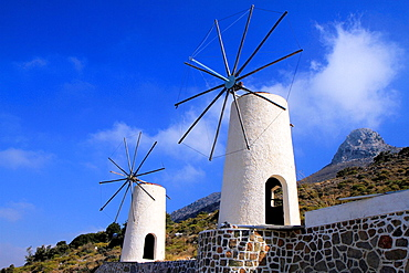 Traditional windmills in the Lassithi plateau, Crete, Greece.