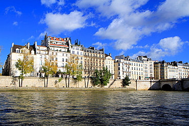 Haussmann buildings along river Seine, Paris, France.