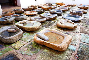 Old rock for grind the mais named metate. Oaxaca, Oaxaca. Mexico