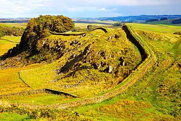 Hadrian's Wall near Housteads Roman fort on Hadrianís Wall National Trail, Northumberland England United Kingdom Great Britain.