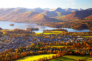 View above Keswick & Derwent Water in the Lake District National Park with the Northern Fells in background. Autumn.