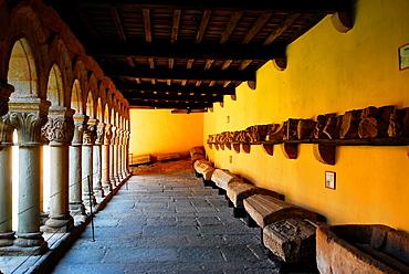 Cloisters of the Romanesque Colegiata of Santillana del Mar, XII century, Region of Cantabria, Spain
