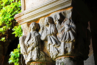 Detail of a capital, Cloisters of the Romanesque Colegiata of Santillana del Mar, XII century, Region of Cantabria, Spain