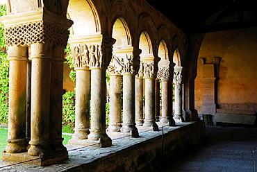 Cloisters of the Romanesque Colegiata of Santillana del Mar, XII century, Cantabria Region, Spain