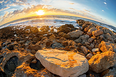 Sunset on the Mediterranean in Cyorus, shot by fish eye lens.
