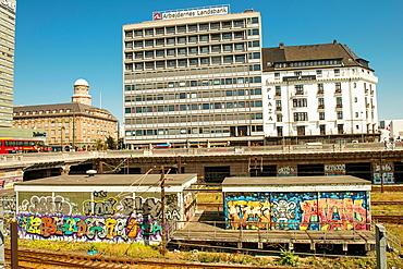 Copenhagen, Denmark - August 2012. Drawings of graffiti near the railway station in Copenhagen.