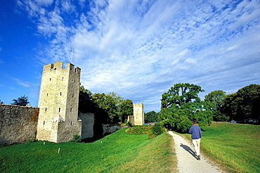 Visby and medieval defensive wall, Gotland island, Baltic Sea, Sweden