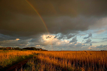 Rainbow over Cley Marshes North Norfolk May