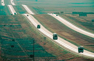 Ribbons of freeway crossing prairies