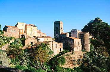 Italy, Sicily, Savoca, Scenic of medieval hill town in mountainous volcanic landscape of the Messina province.