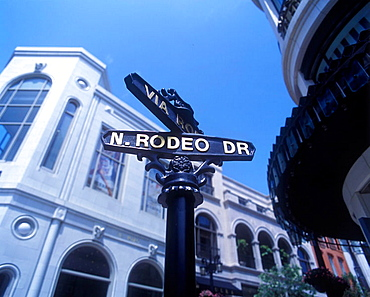 Rodeo drive sign, Beverly hills, Los angeles, California, USA.