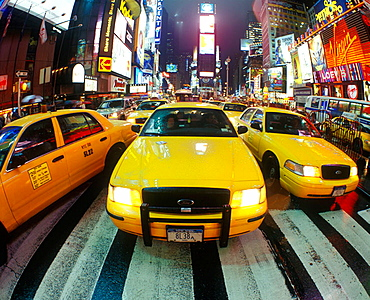 Taxi cabs, Times square, Midtown, Manhattan, New York, USA