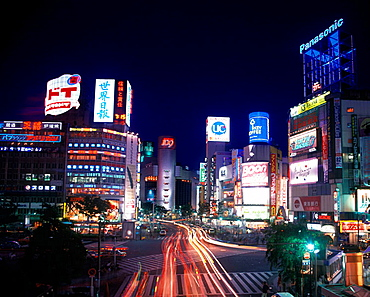 Neon signs, Shibuya-ku, Tokyo, Japan.