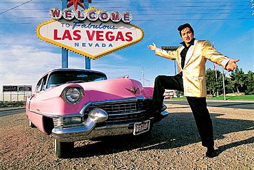 Jesse Garon, Elvis look-alike and pink sixties cadillac, Las Vegas, USA