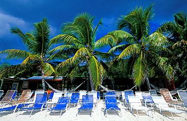 Empty sleeping chairs on a beach, Tortola, British Virgin Islands