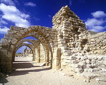 Arcaded crusader Street ruins, Caesaria national park, Israel.