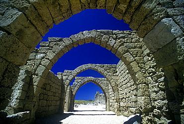 Arch, Arcaded crusader Street ruins, Caesaria national park, Israel.
