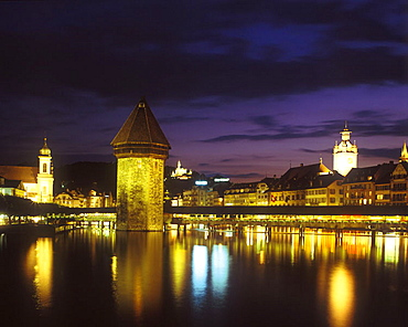 Chapel bridge & water tower, Luzern, Switzerland.