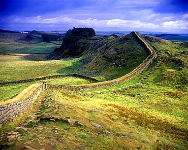 scenic hadrian's wall ruins northumberland, england, uk