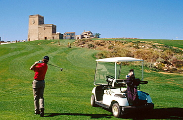 Playing golf, Mojacar, Almeria province, Andalusia, Spain
