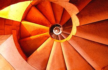 Spiral stairs in the Sagrada Familia, by Antonio Gaudi, Barcelona, Spain