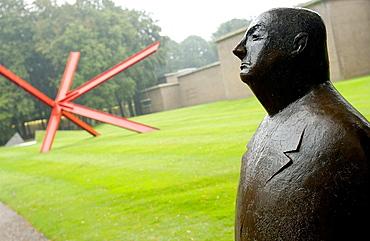 'Monsieur Jacques' (1956) by Oswald Wenckebach and K-Piece by Mark di Suvero in background, Kroller-Muller Museum garden, Het Nationale Park De Hoge Veluwe, Gelderland, Netherlands