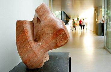 'Sculpture with hole and light' (1967) by Henry Moore in Kroller-Muller Museum, Het Nationale Park De Hoge Veluwe, Gelderland, Netherlands