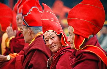 Buddhist monks during Tibetan New Year celebration, Sikkim, India