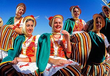 Women in traditional costumes, La Orotava, Tenerife, Canary Islands, Spain