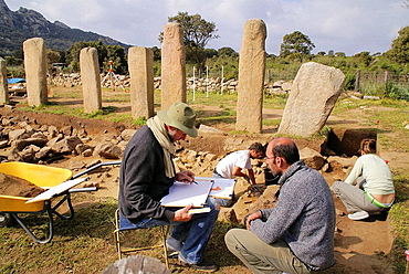 Working on the archeological site of Stantari, at Cauria, Corsica, France