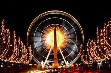 Christmas time, Big wheel, Place de la Concorde, Paris, France.