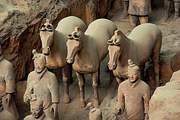 Terracotta warriors from the tomb of First Emperor Qinshihuang in Xi'an Museum, Shaanxi, China