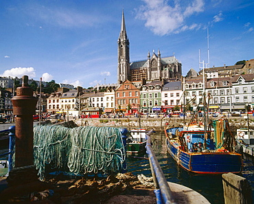View over harbour to Saint Colman's Cathedral, Cobh, Co, Cork, Ireland.