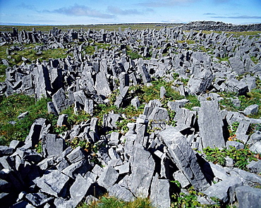 'Chevaux de Frise' defensive system of stone slabs in front of prehistoric fort of Dun Aengus, Inishmore, Aran Islands, Ireland