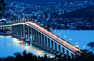 Tasman Bridge over Derwent River estuary, Hobart, Australia