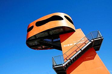 Orange view point in Speicherstadt, Grosser Grasbrook, Hafen City, Hamburg, Germany