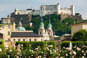 Austria, Salzburg, Mirabell Gardens and Schloss Hohensalzburg