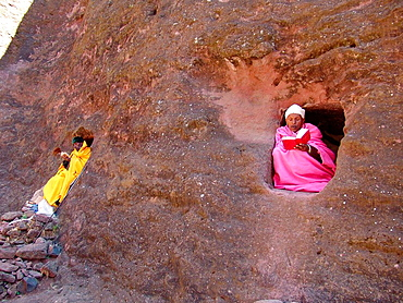 ETHIOPIA  Monks staying in the caves near the churches of Lalibela