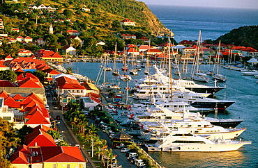 Yacht harbour, View from Fort Gustave, St, Barthelemy, Gustavia, French West Indies, Caribbean